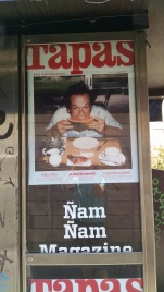 "This is a picture of Jack Nicholson eating watermelon. The magazine translates as ""Nom Nom Magazine"""